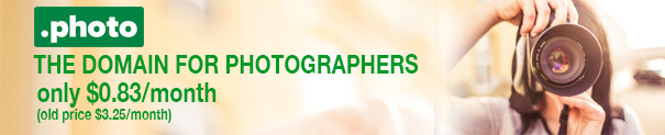 .photo Domains only USD 9.99 for the first year