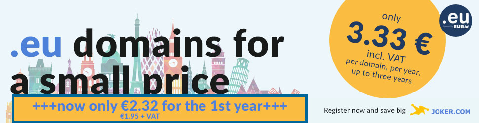 .EU domains for a small price, 3 years for €3.33 each